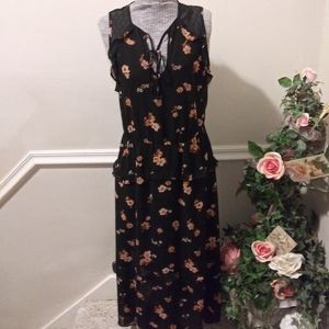 EUC Xhilaration Blk & Peach High-Low Maxi Dress